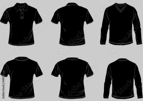 collection of black shirt templates stock image and royalty free