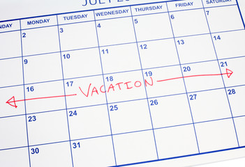 A vacation week marked on a calendar.