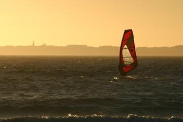 Windsurfen, Sonnenuntergang