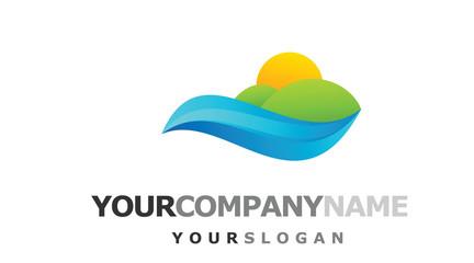 ocean near green hills logo