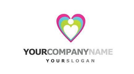 person inside heart logo
