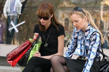 women talking after shopping