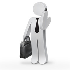3d business man holding a suitcase and speaking on mobile phone