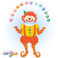 clown juggling colorful balls
