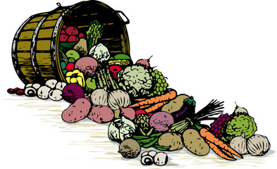 Barrel of Fresh Vegetables