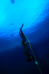 Freediver at the Blue Hole in Dahab, Egypt