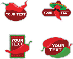 Template designs of icons for Mexican food