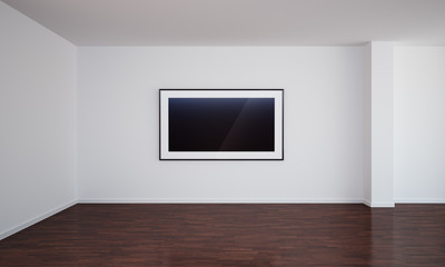 Empty room with blank painting and dark floor