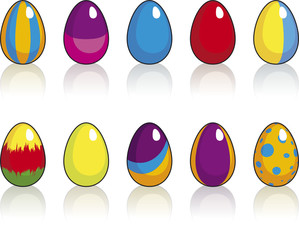 Set of ten Easter eggs with reflection on white background