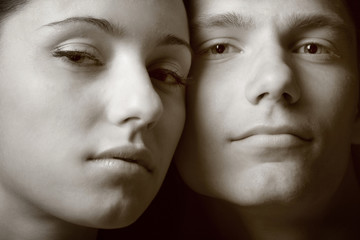 Sepia Shot of a Young Attractive Couple