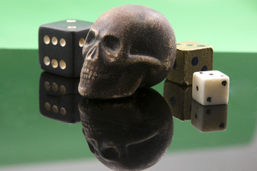 Old  skull and dice