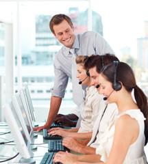 International business team working together