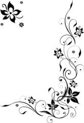 Blumenranke, Blüten filigran, Schnörkel