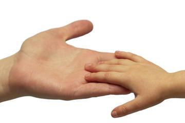 father and child handshake