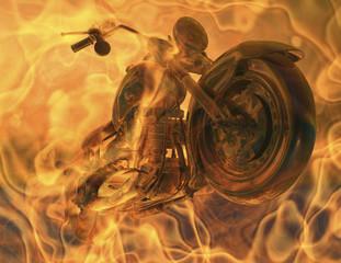 La pose en embrasure Motocyclette flames