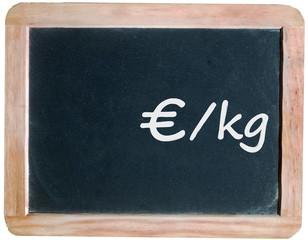 Price per kilo on blackboard