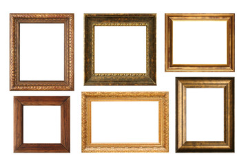 Genuinly antique frames isolated on white.