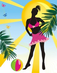 Girl with ball on a background of sun. Summer composition