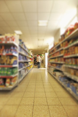 Pensioner goes shopping in the supermarket
