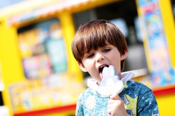 baby boy eating ice cream