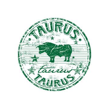 Taurus green grunge rubber stamp