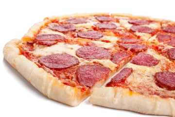 sliced whole salami pizza