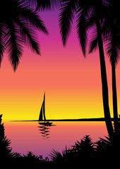Tropical sea scene with sailboat