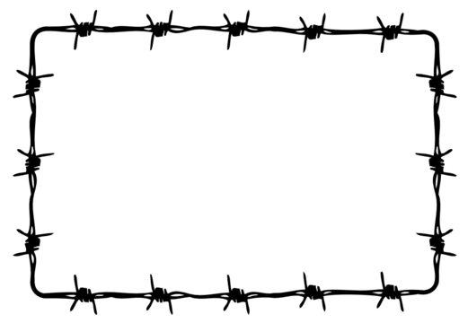 Cadre Fil de fer barbelé -- Barbed wire fence Frame