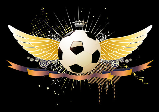 Vector illustration of style soccer football winged emblems