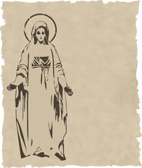 the vector Virgin Mary statue silhouette