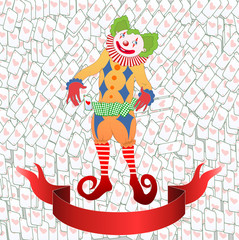 clown juggling colorful playing card
