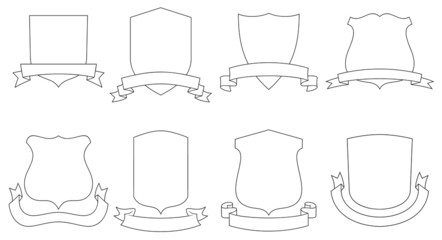 Set of vector emblems, crests, shields and scrolls