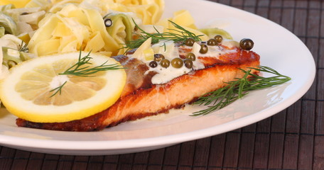 broiled salmon and ribbon noodles