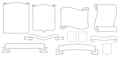 Vector ribbons, shields and scrolls