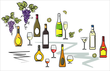 Bottles of Wine Vector Illustration