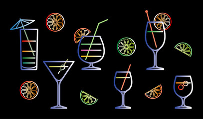 Neon cocktails vector illustration