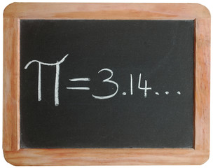 """Pi = 3.14..."" on blackboard"
