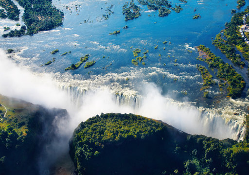 Zambezi river and Victoria Falls, aerial view