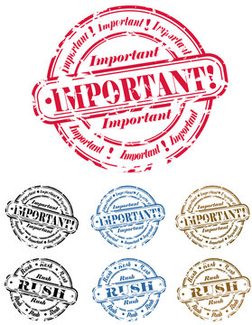 """important"" and ""rush"" rubber stamp set"