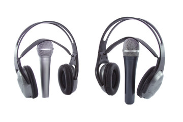 On The Air! Microphone & DJ wireless headphones on it isolated o