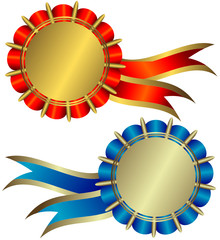Golden and silvery medals (vector)