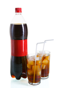 Bottle and two glass of cola