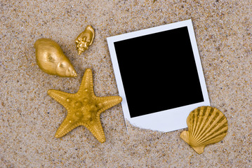 Photo frame with golden sea shells on sand background