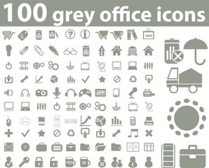 100 grey office icons. vector