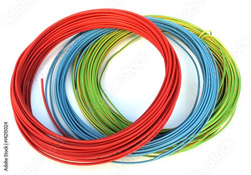 3 rouleaux de fils électriques photo libre de droits sur la banqu -> Rouleau Fil Électrique