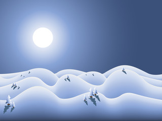 wonderland with moon and snow