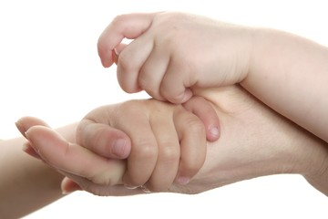 Mother and son, daughter hand together