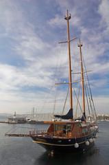 Sail boat in a bay