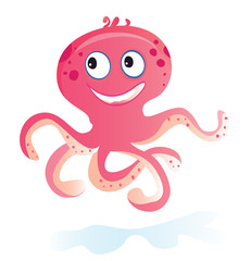 Sea octopus. Vector Illustration of funny sea pink animal.