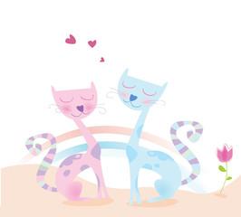 Summer love. Loving cats. Vector Illustration.
